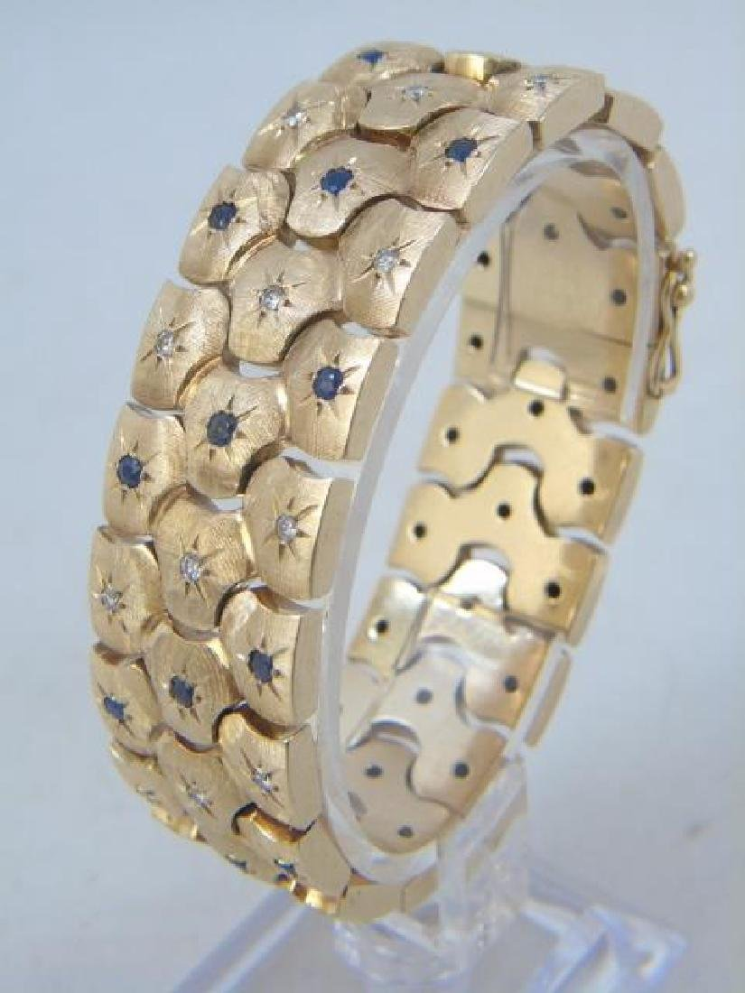 Estate 14k Yellow Gold Sapphire & Diamond Bracelet