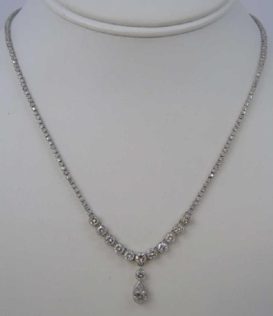 Estate Platinum Diamond Riviere Necklace w Pendant