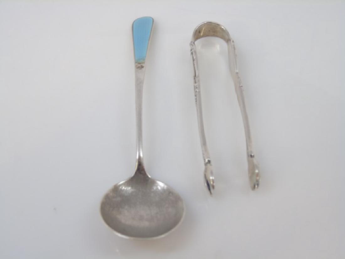 Sterling Silver - Towle Tongs & Enamel Spoon - 3