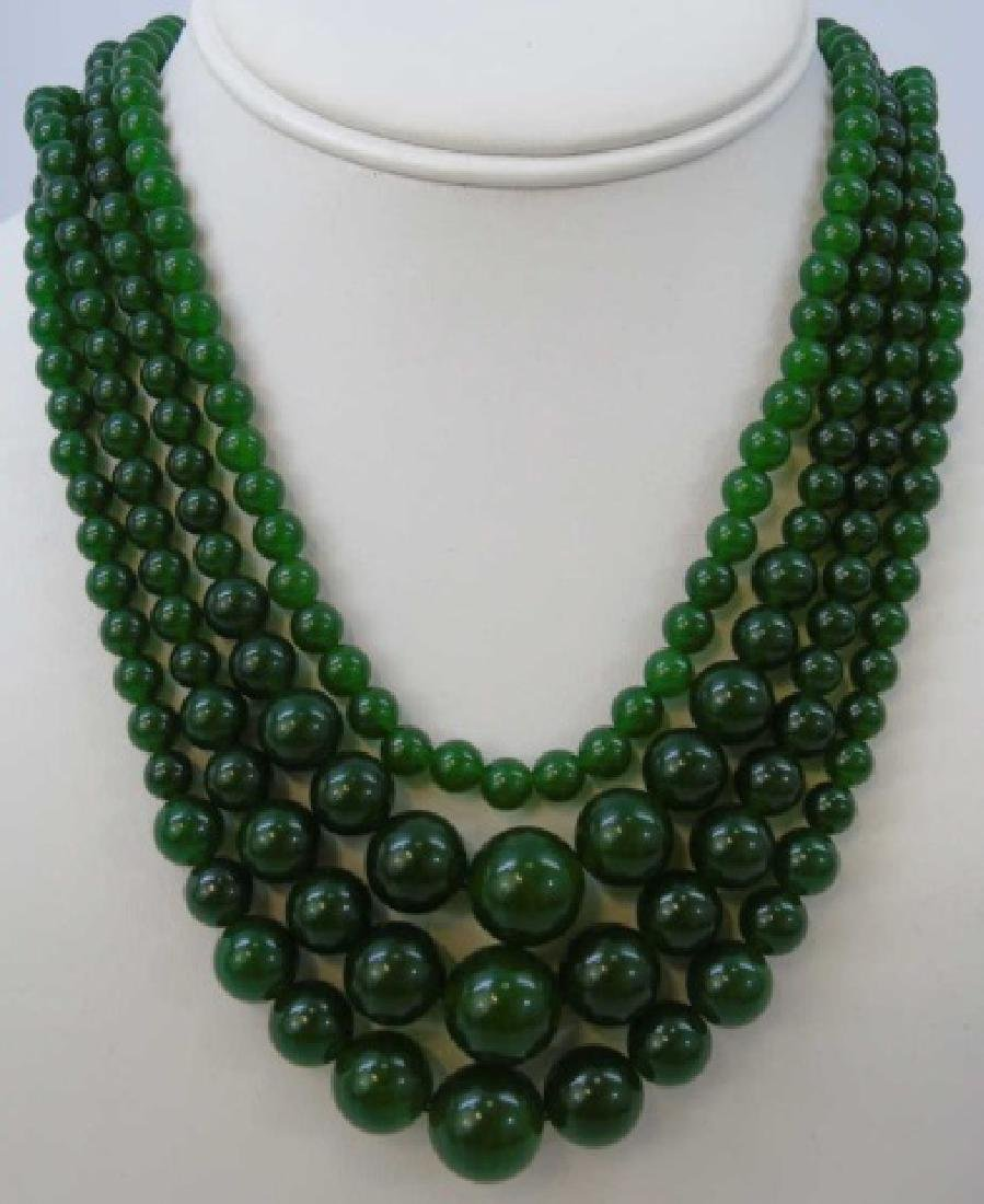 Four Chinese Green Jade Necklace Strands