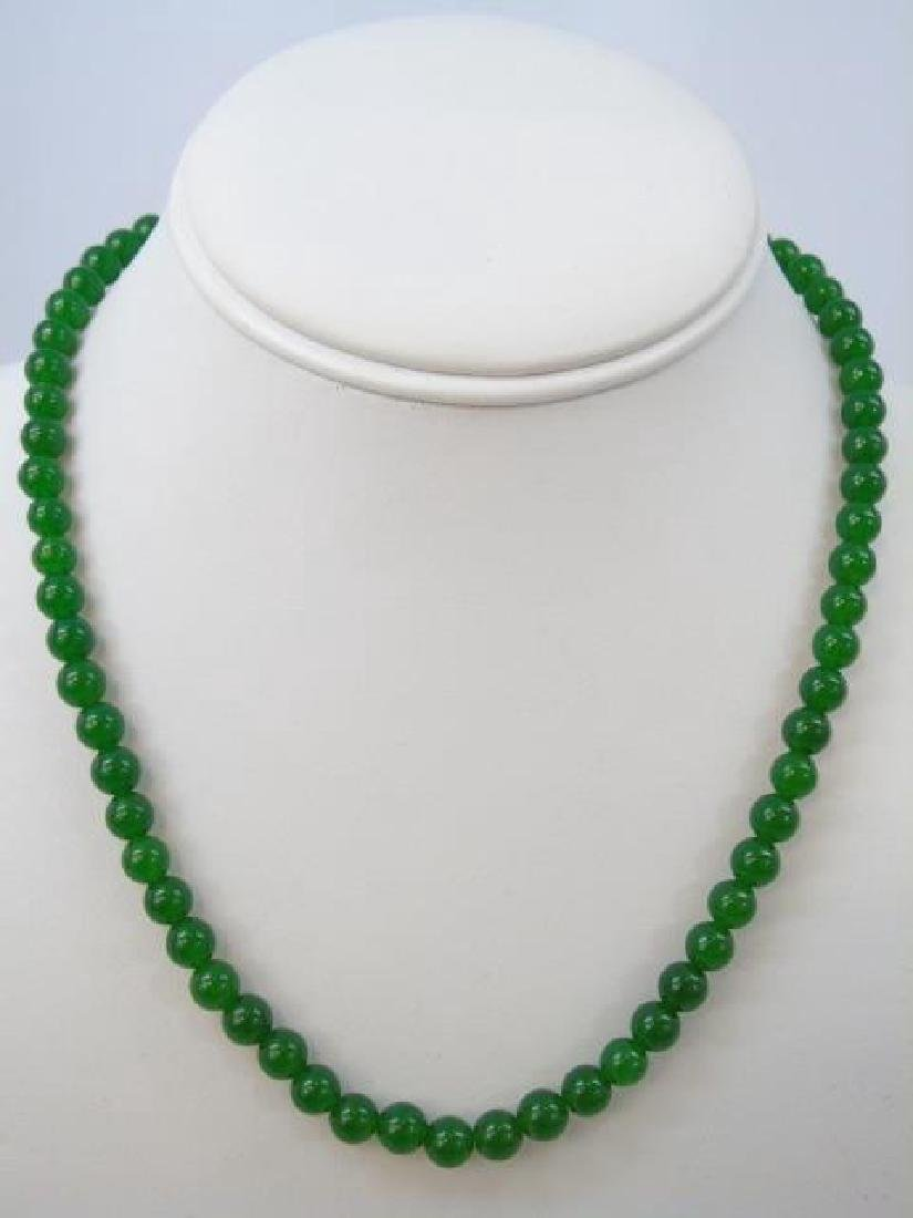 Four Chinese Green Jade Necklace Strands - 2