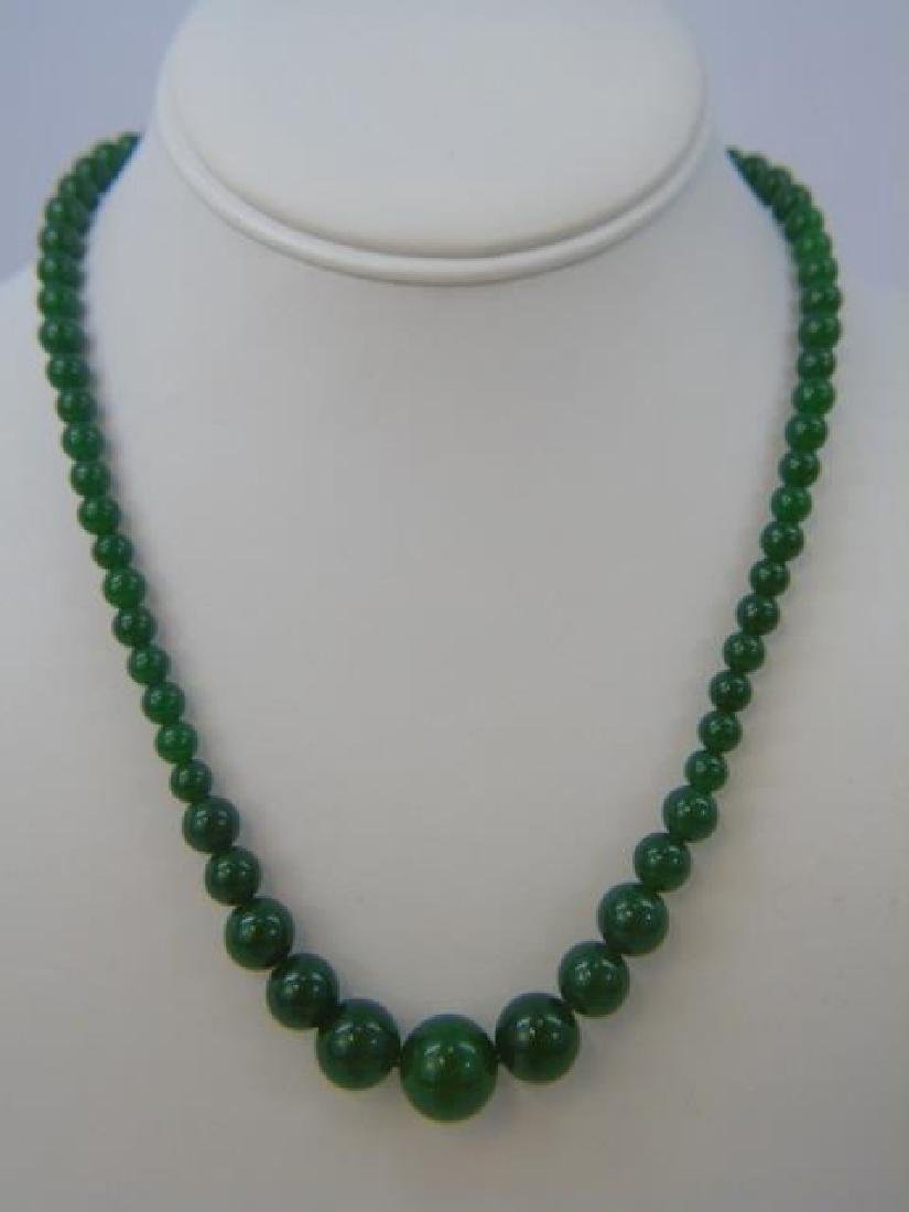 Four Chinese Green Jade Necklace Strands - 3