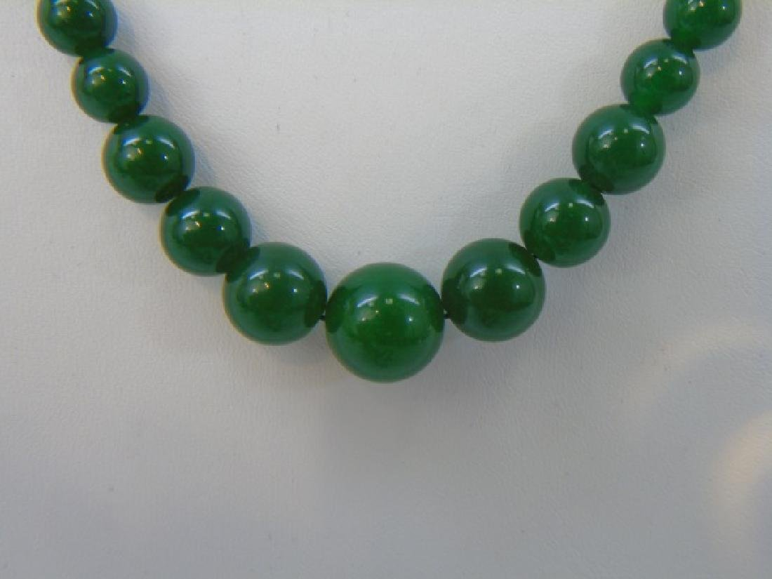 Four Chinese Green Jade Necklace Strands - 4