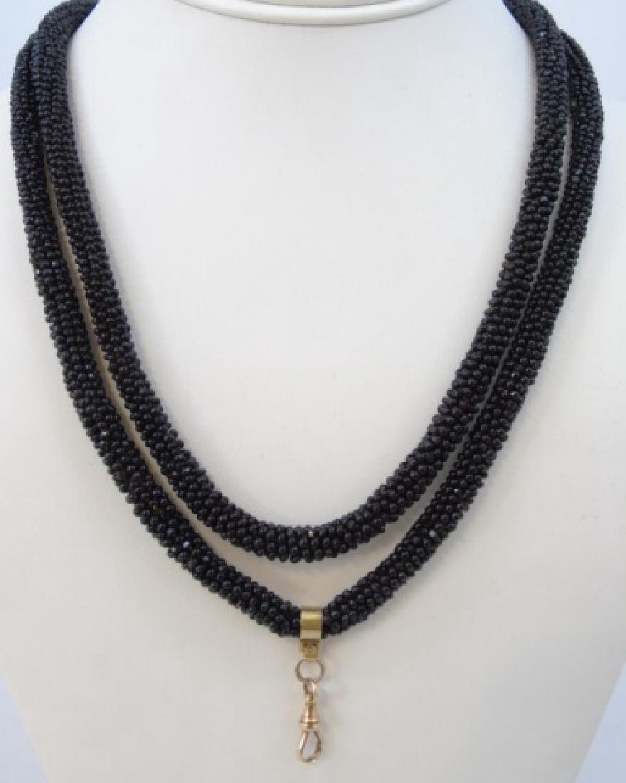 Antique 19th C 14kt Gold & Jet Bead Long Necklace