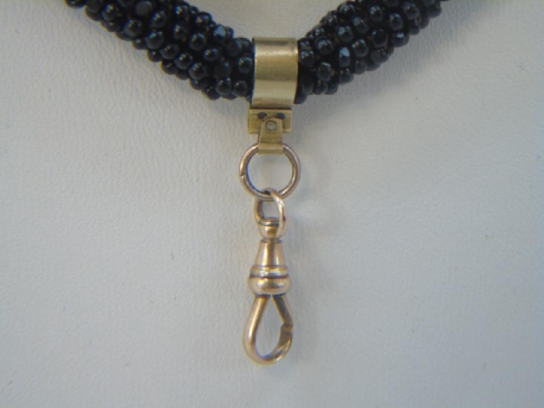 Antique 19th C 14kt Gold & Jet Bead Long Necklace - 4