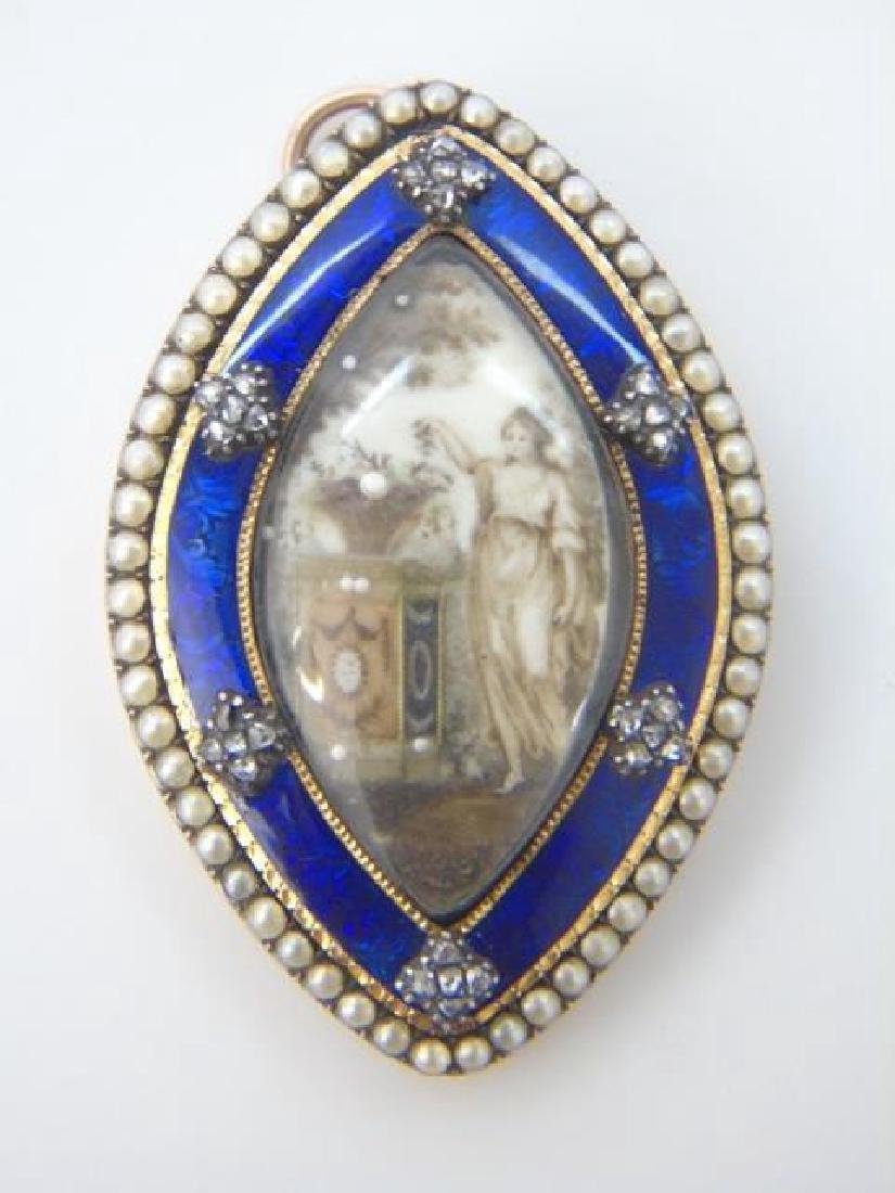 Antique 18th C Georgian Diamond Mourning Pendant