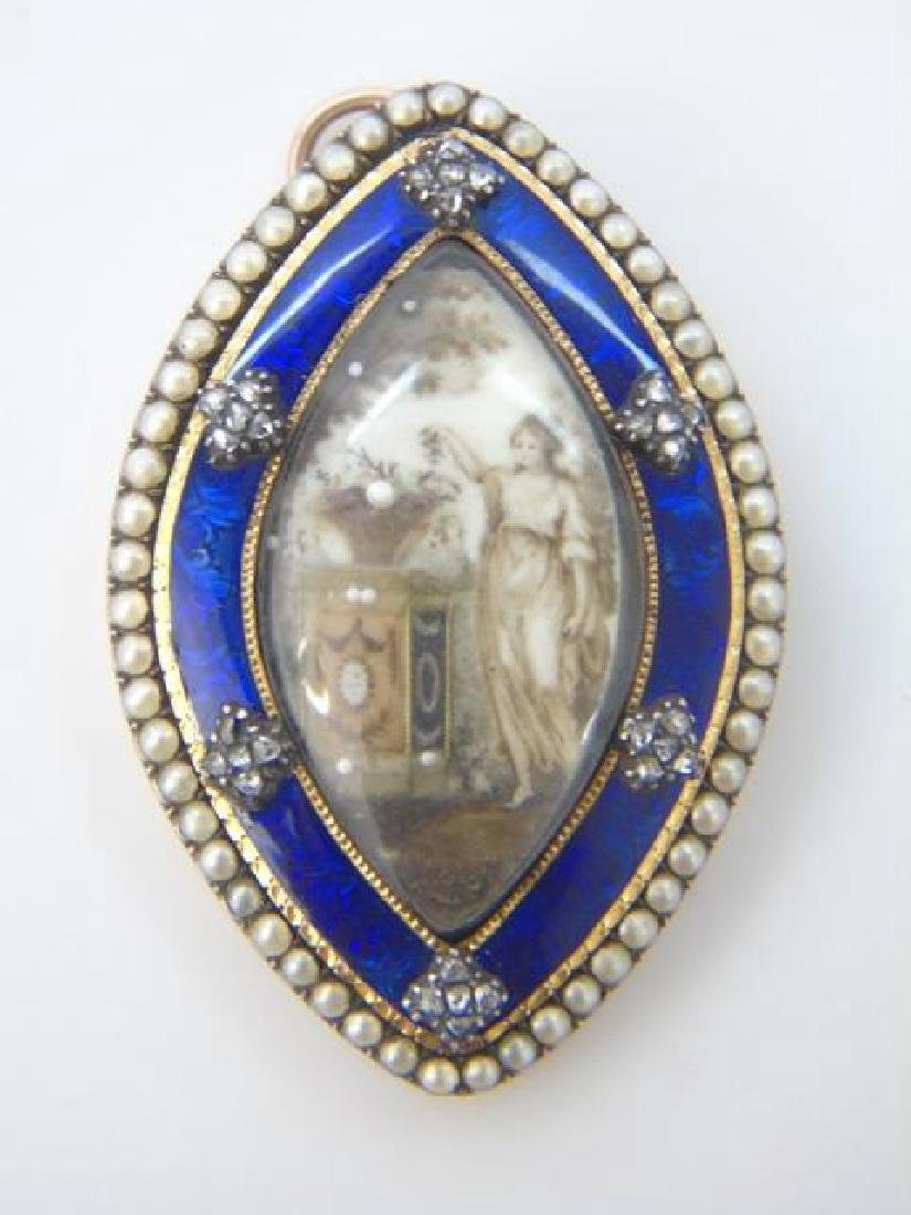 Antique 18th C Georgian Diamond Mourning Pendant