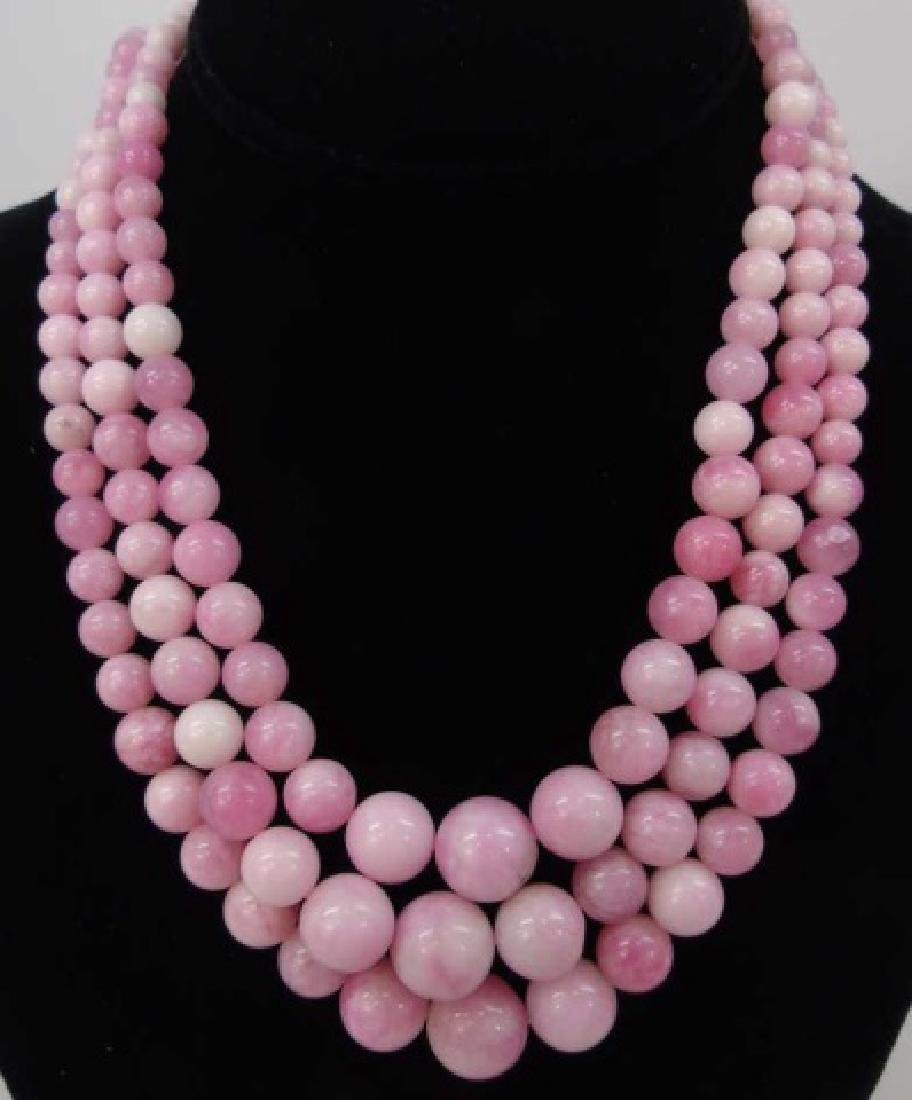 3 Carved Pink & White Jade Beaded Necklaces