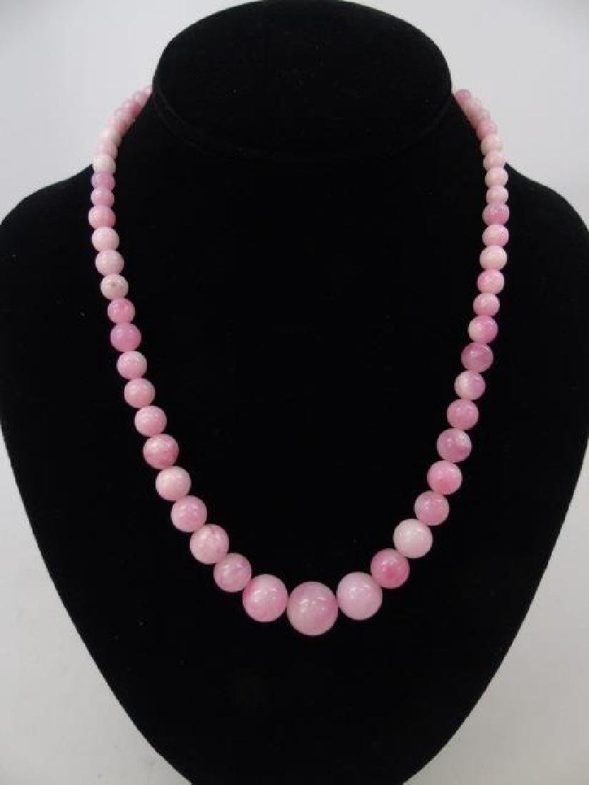 3 Carved Pink & White Jade Beaded Necklaces - 3