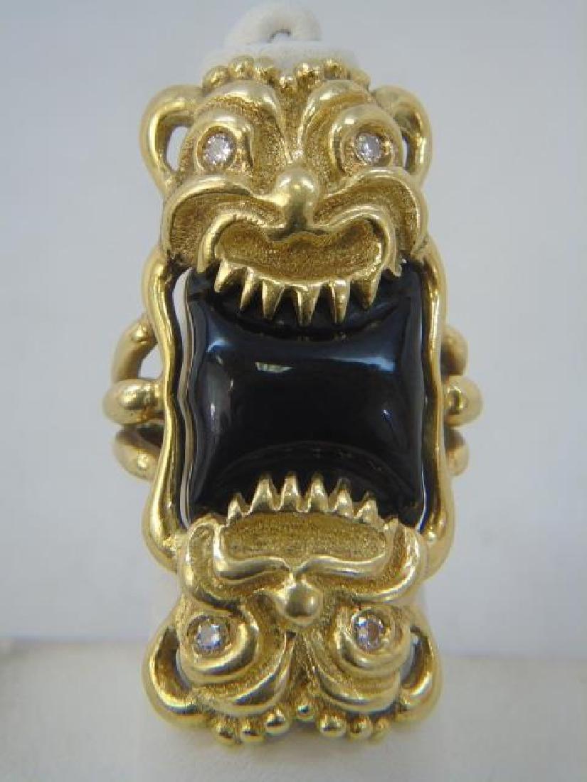 Estate Italian 18k Gold Diamond Onyx Gargoyle Ring