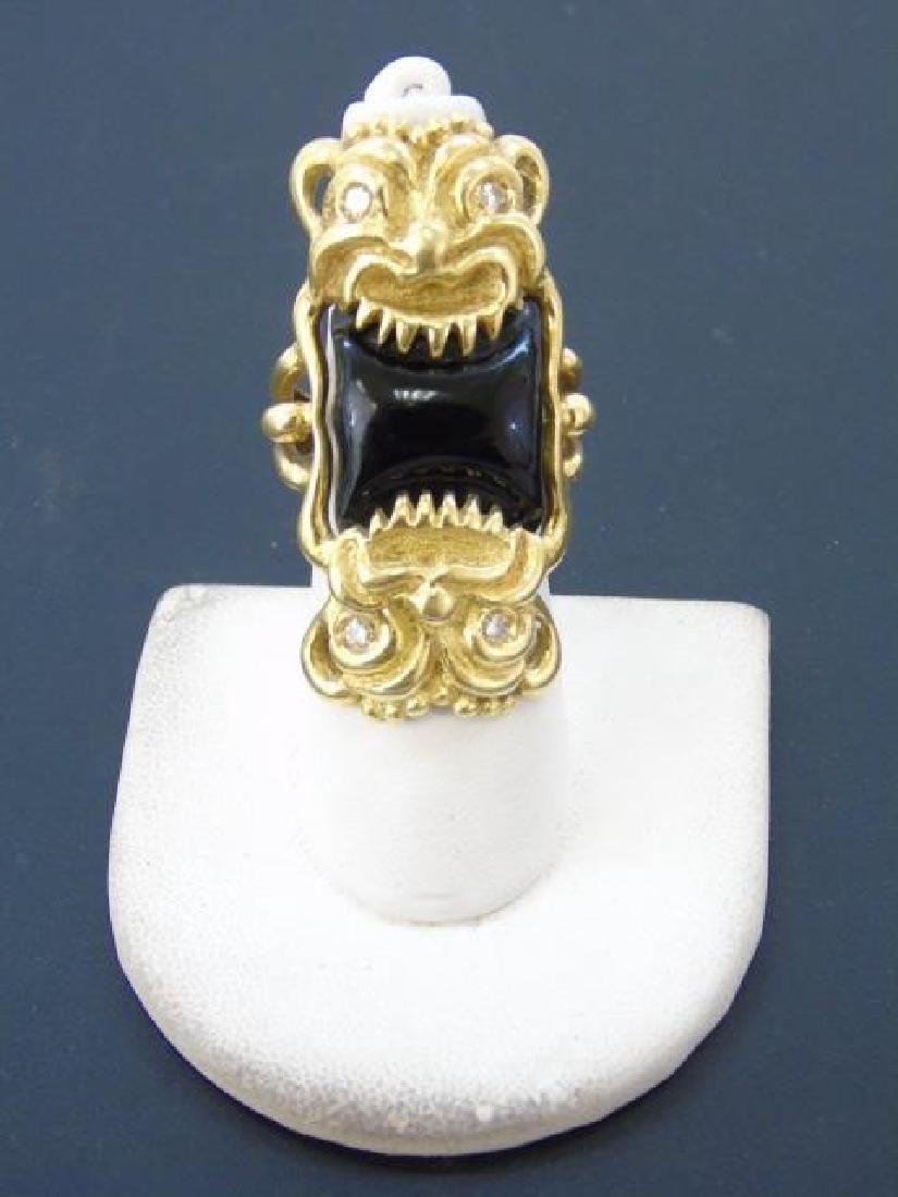 Estate Italian 18k Gold Diamond Onyx Gargoyle Ring - 3