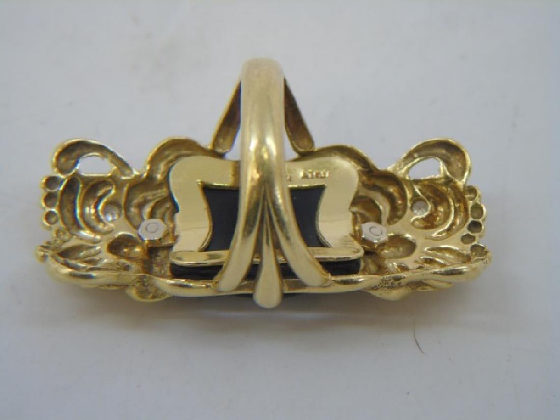 Estate Italian 18k Gold Diamond Onyx Gargoyle Ring - 5