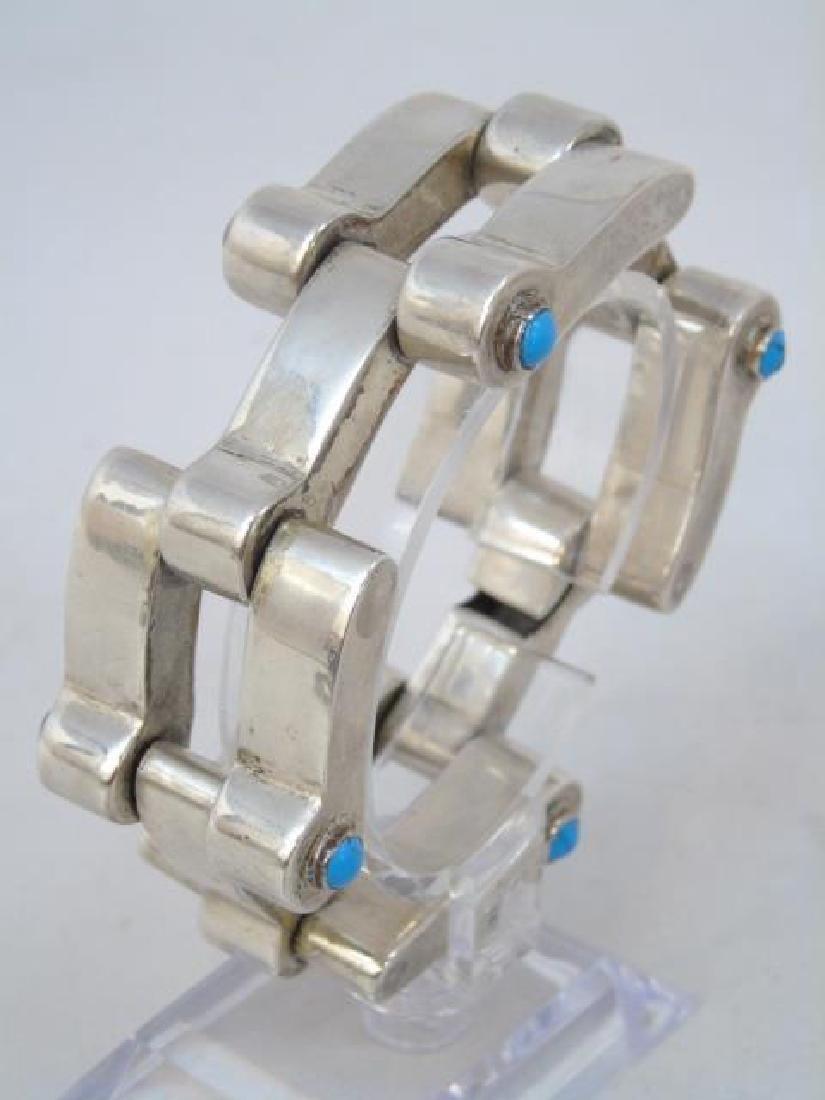 Vintage Mexican Silver & Turquoise Link Bracelet