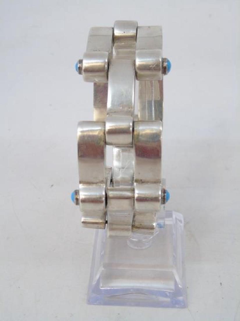 Vintage Mexican Silver & Turquoise Link Bracelet - 3