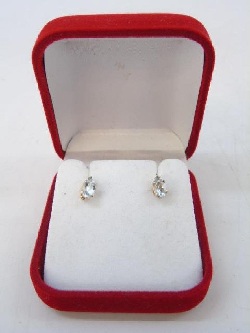Estate 14kt Gold Aquamarine & Diamond Earrings