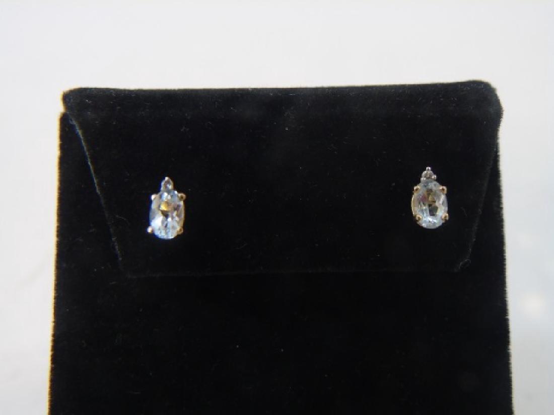Estate 14kt Gold Aquamarine & Diamond Earrings - 2