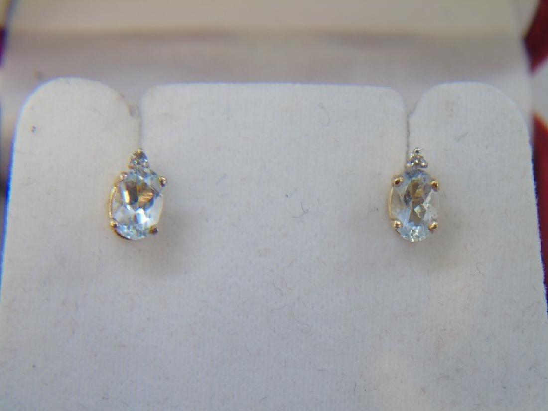Estate 14kt Gold Aquamarine & Diamond Earrings - 3