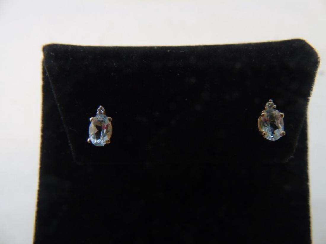 Estate 14kt Gold Aquamarine & Diamond Earrings - 5