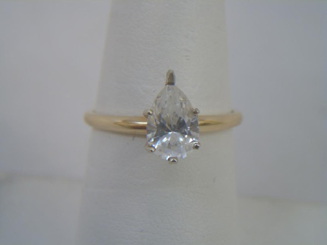 Estate 14kt Yellow Gold Pear Shape Engagement Ring