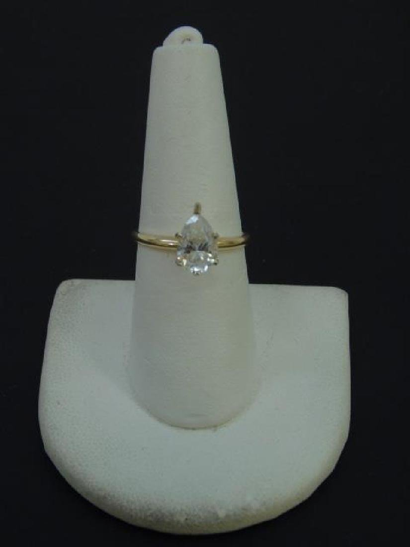 Estate 14kt Yellow Gold Pear Shape Engagement Ring - 3