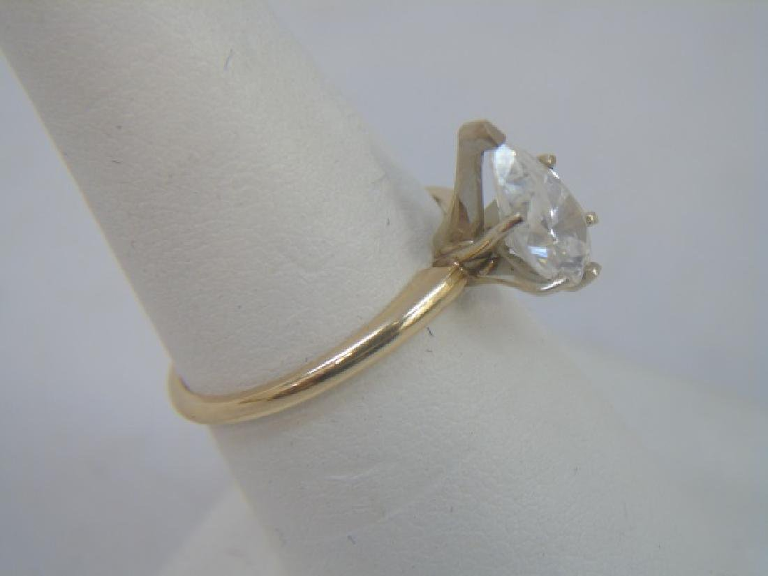 Estate 14kt Yellow Gold Pear Shape Engagement Ring - 4