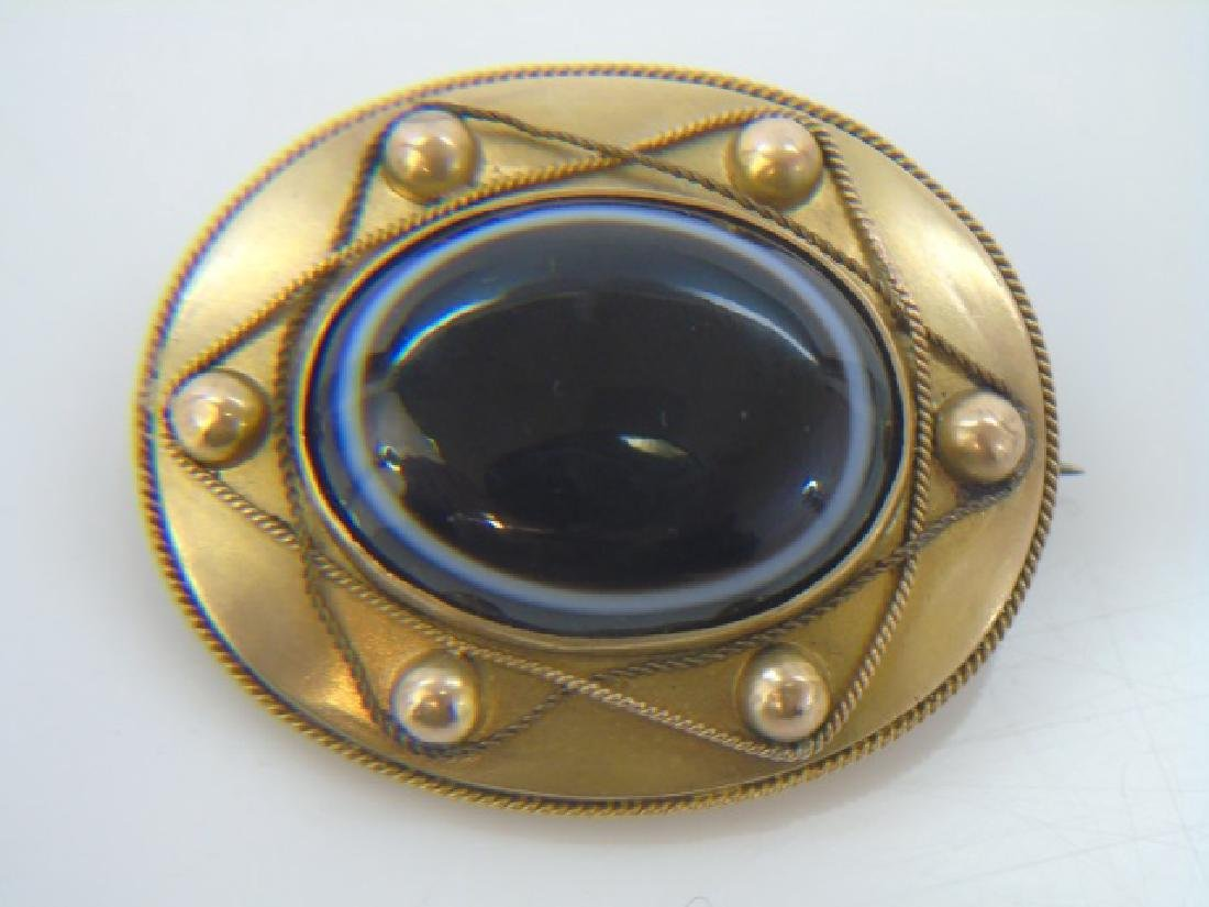 Antique 14kt Gold & Banded Agate Mourning Brooch