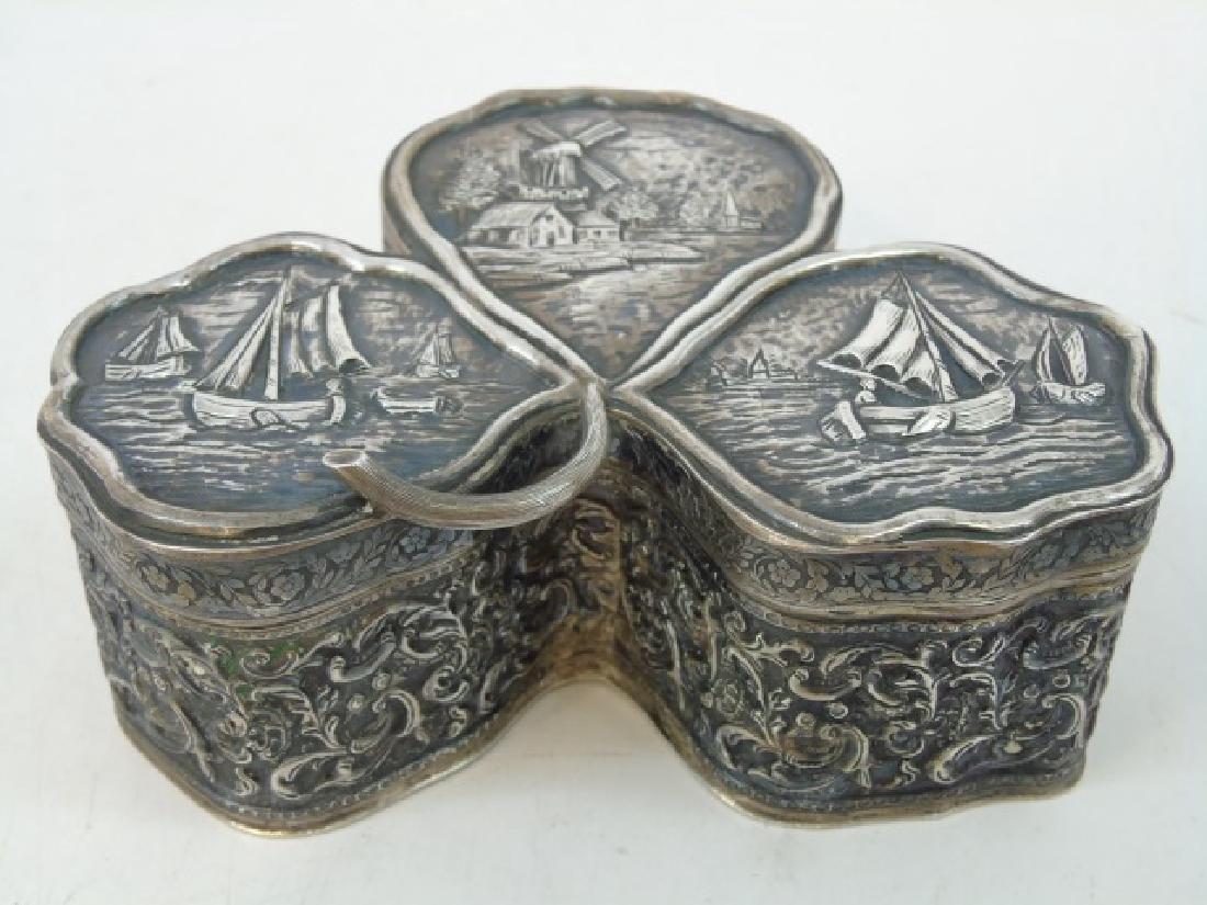 Antique 19th Dutch Silver Repousse Clover Box