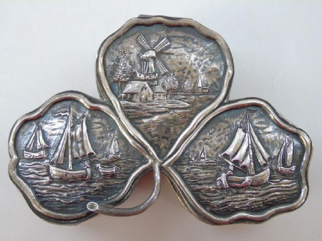 Antique 19th Dutch Silver Repousse Clover Box - 5