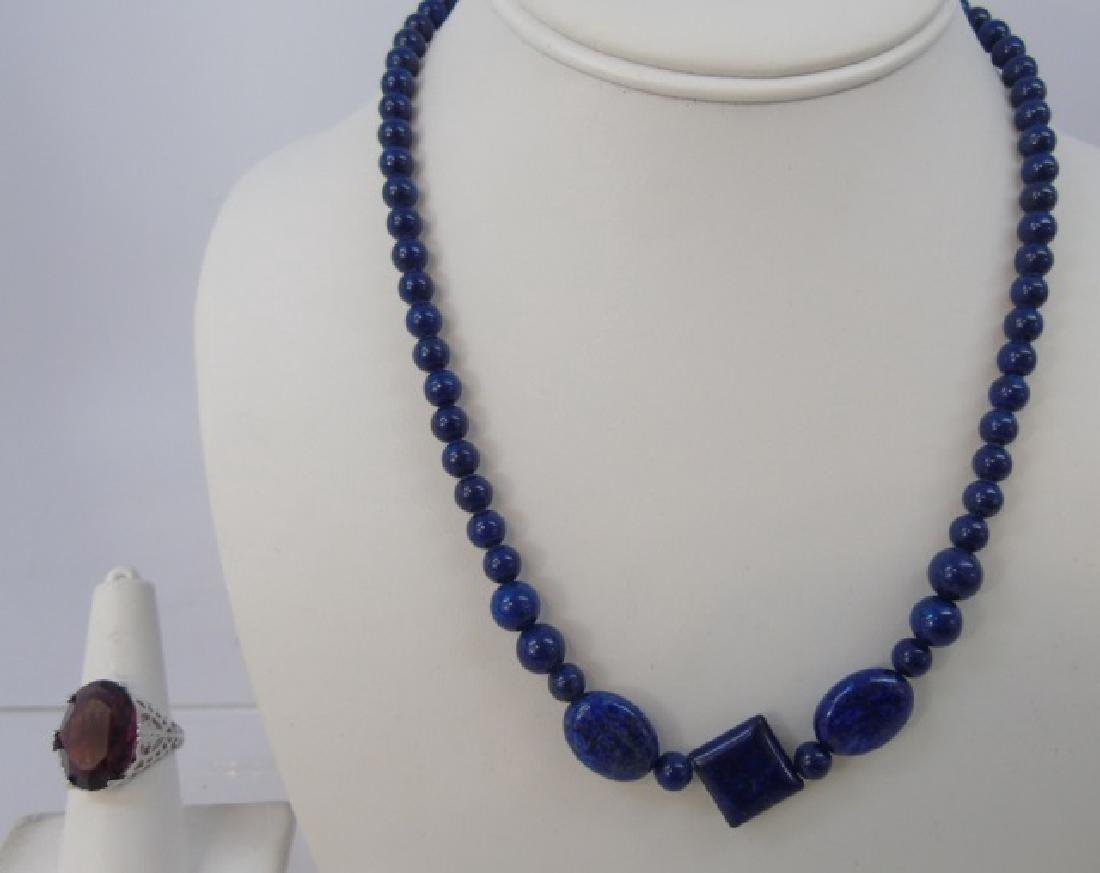 Carved Lapis Lazuli Necklace Sterling Silver Ring