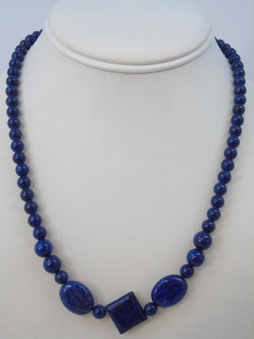 Carved Lapis Lazuli Necklace Sterling Silver Ring - 3