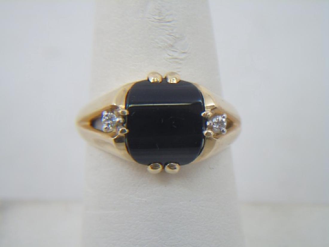Estate 14kt Yellow Gold Black Onyx & Diamond Ring