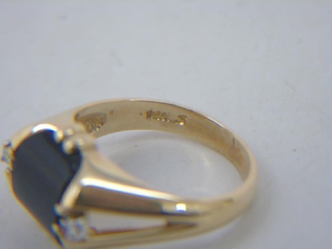 Estate 14kt Yellow Gold Black Onyx & Diamond Ring - 2
