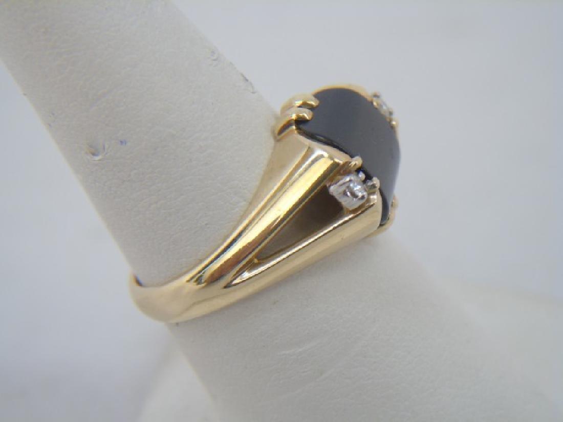 Estate 14kt Yellow Gold Black Onyx & Diamond Ring - 3