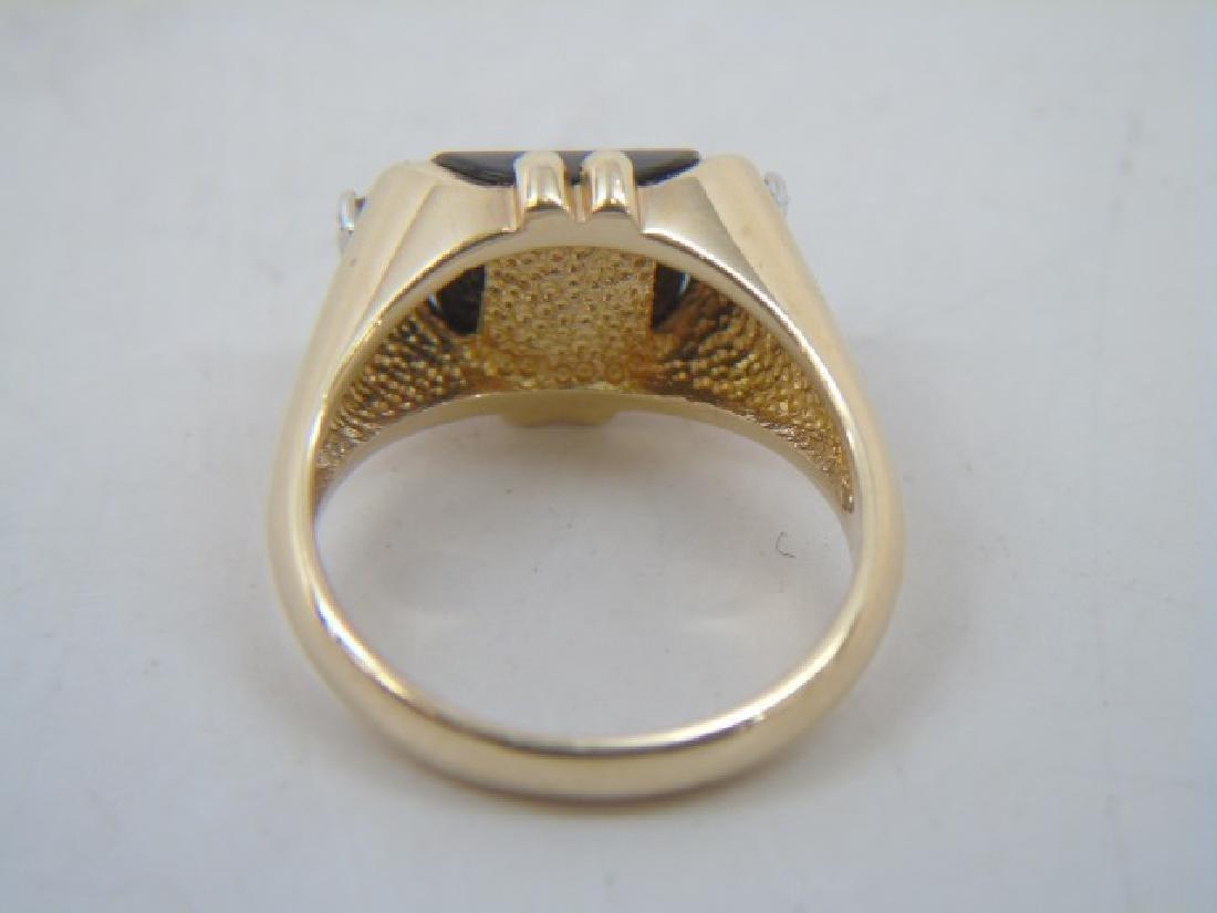 Estate 14kt Yellow Gold Black Onyx & Diamond Ring - 4