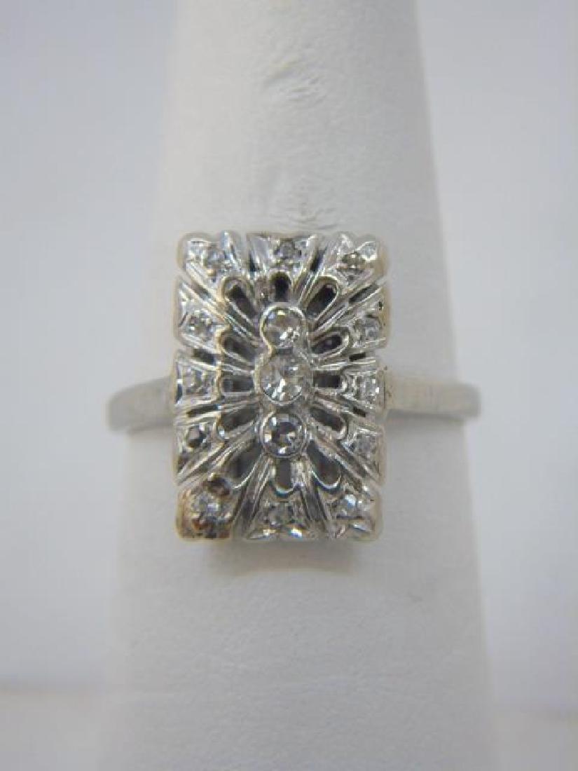 Estate 18kt White Gold & Diamond Cluster Ring