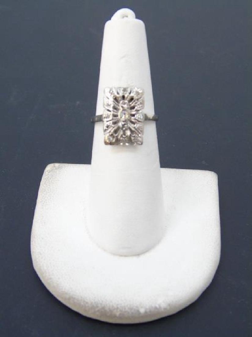 Estate 18kt White Gold & Diamond Cluster Ring - 3