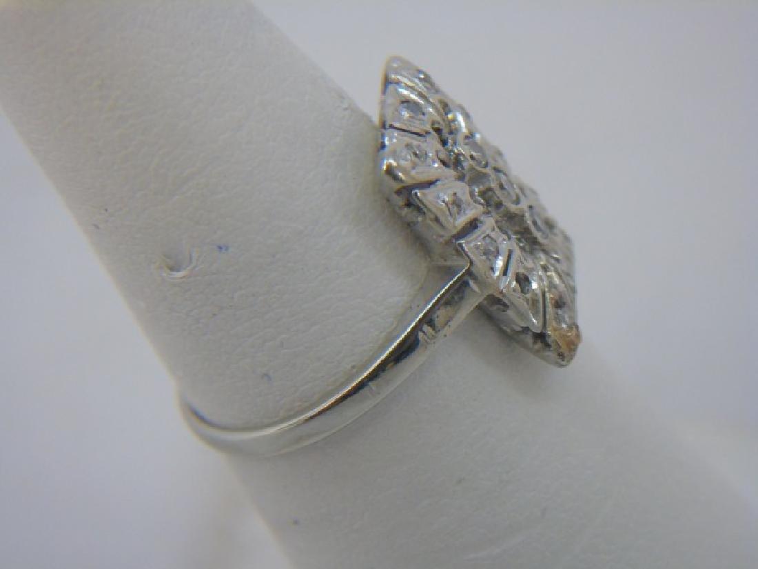 Estate 18kt White Gold & Diamond Cluster Ring - 4