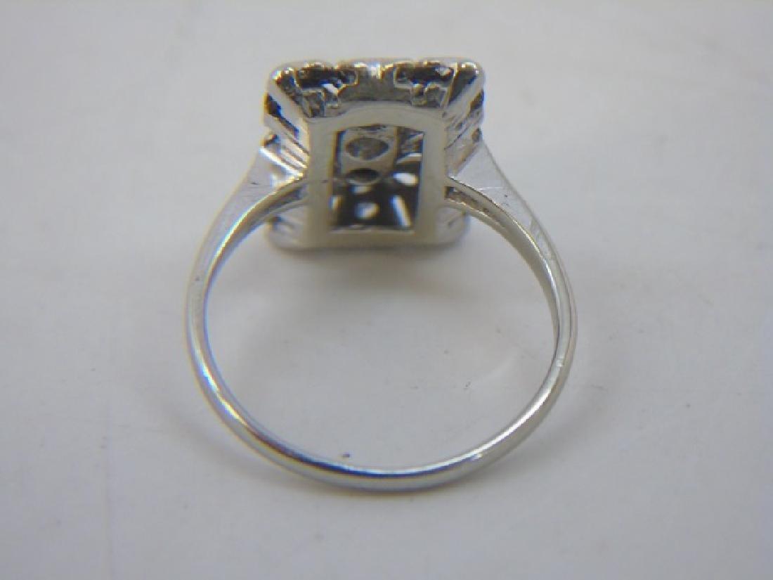 Estate 18kt White Gold & Diamond Cluster Ring - 5