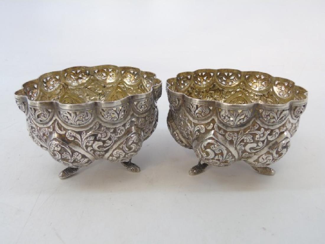 Pair Antique Indo Persian Repousse Silver Bowls