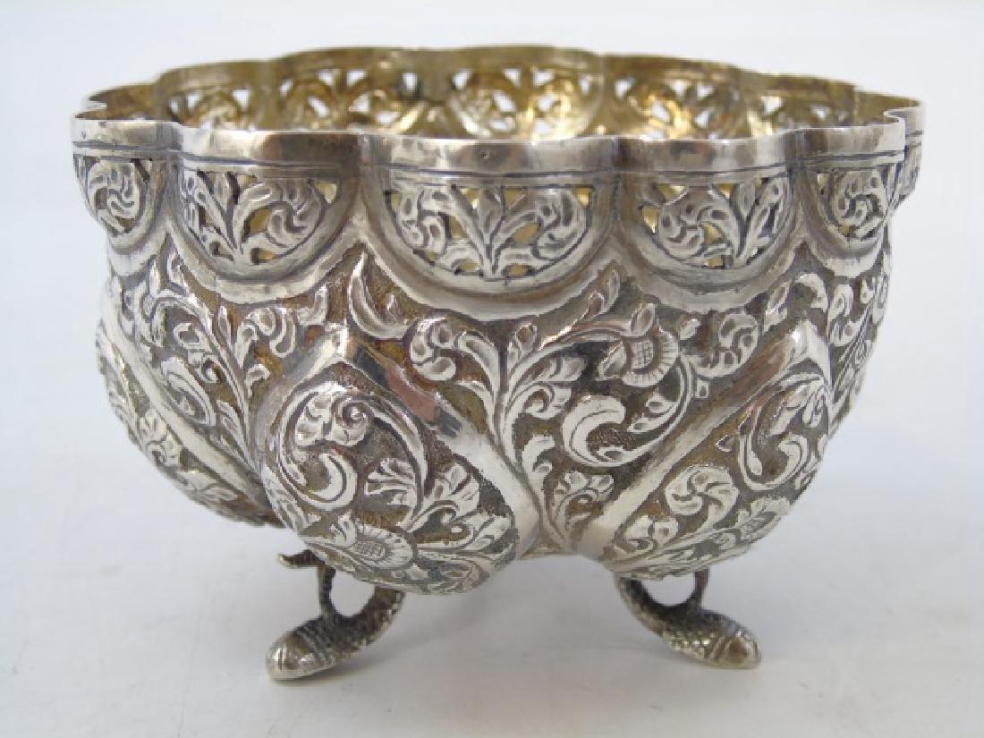 Pair Antique Indo Persian Repousse Silver Bowls - 3