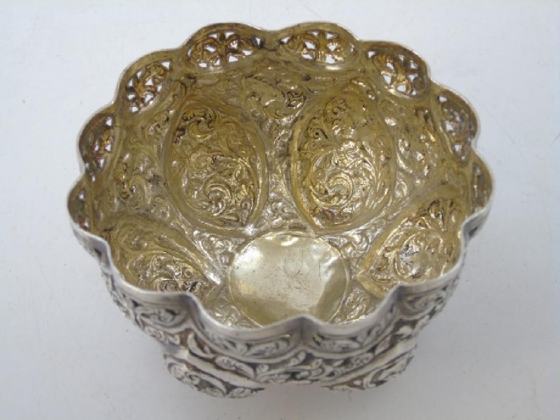 Pair Antique Indo Persian Repousse Silver Bowls - 4