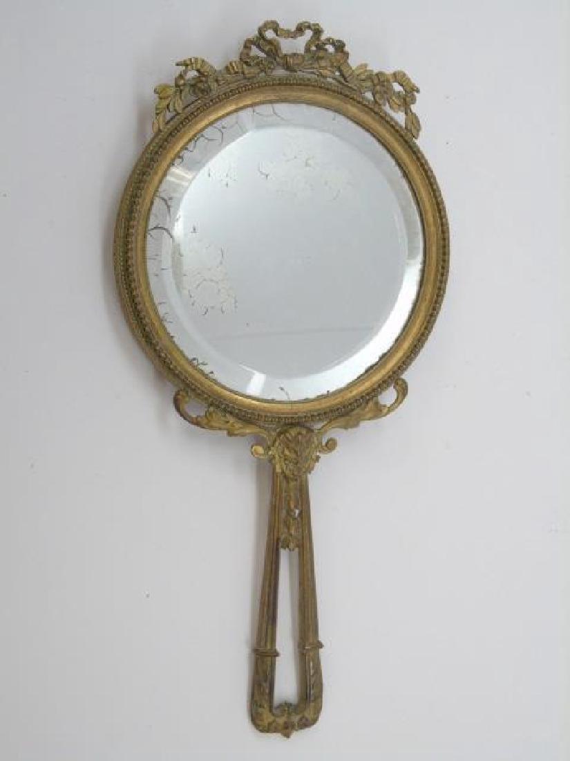 Antique French Gilt Bronze Ormolu Hand Mirror