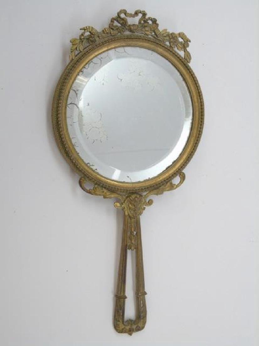Antique French Gilt Bronze Ormolu Hand Mirror