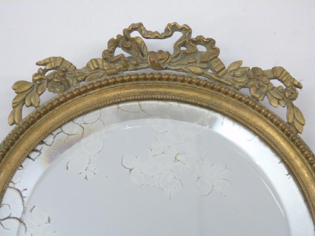 Antique French Gilt Bronze Ormolu Hand Mirror - 3