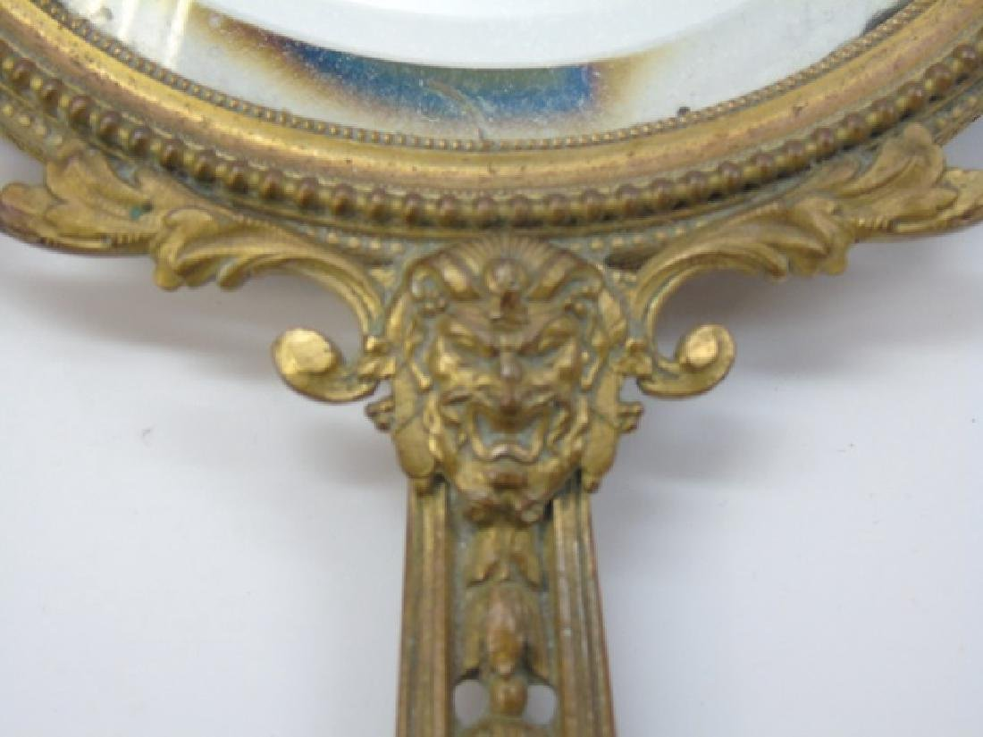 Antique French Gilt Bronze Ormolu Hand Mirror - 5