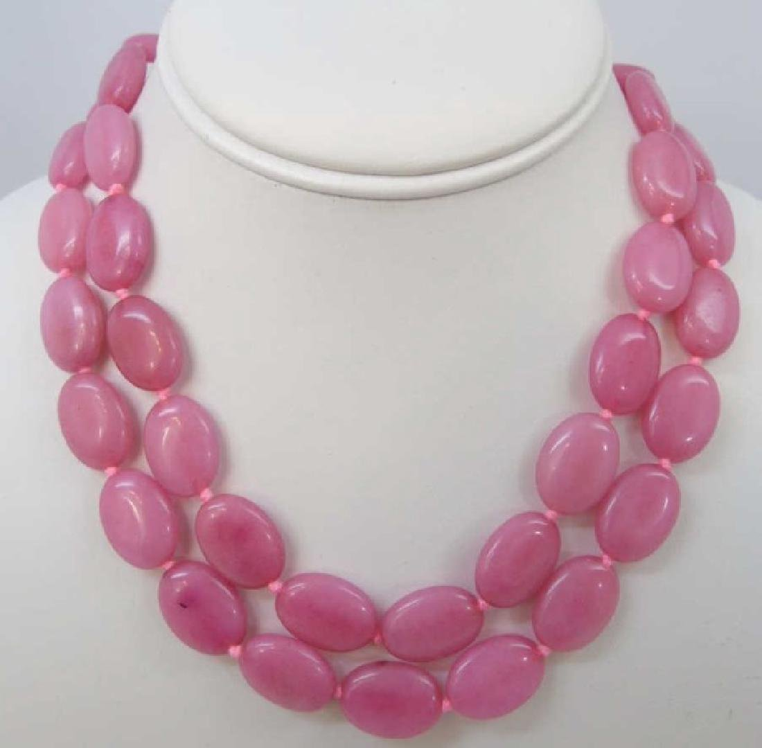 Pair Hand Knotted Carved Pink Jade Disc Necklaces