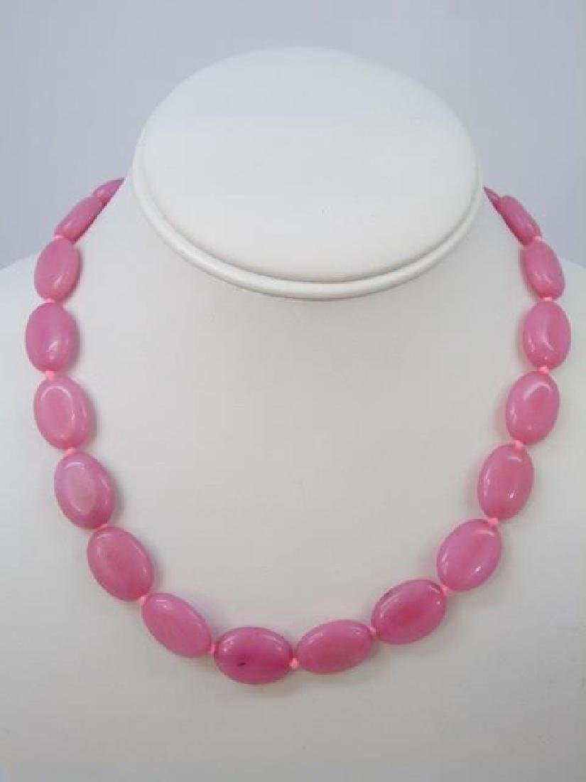 Pair Hand Knotted Carved Pink Jade Disc Necklaces - 3