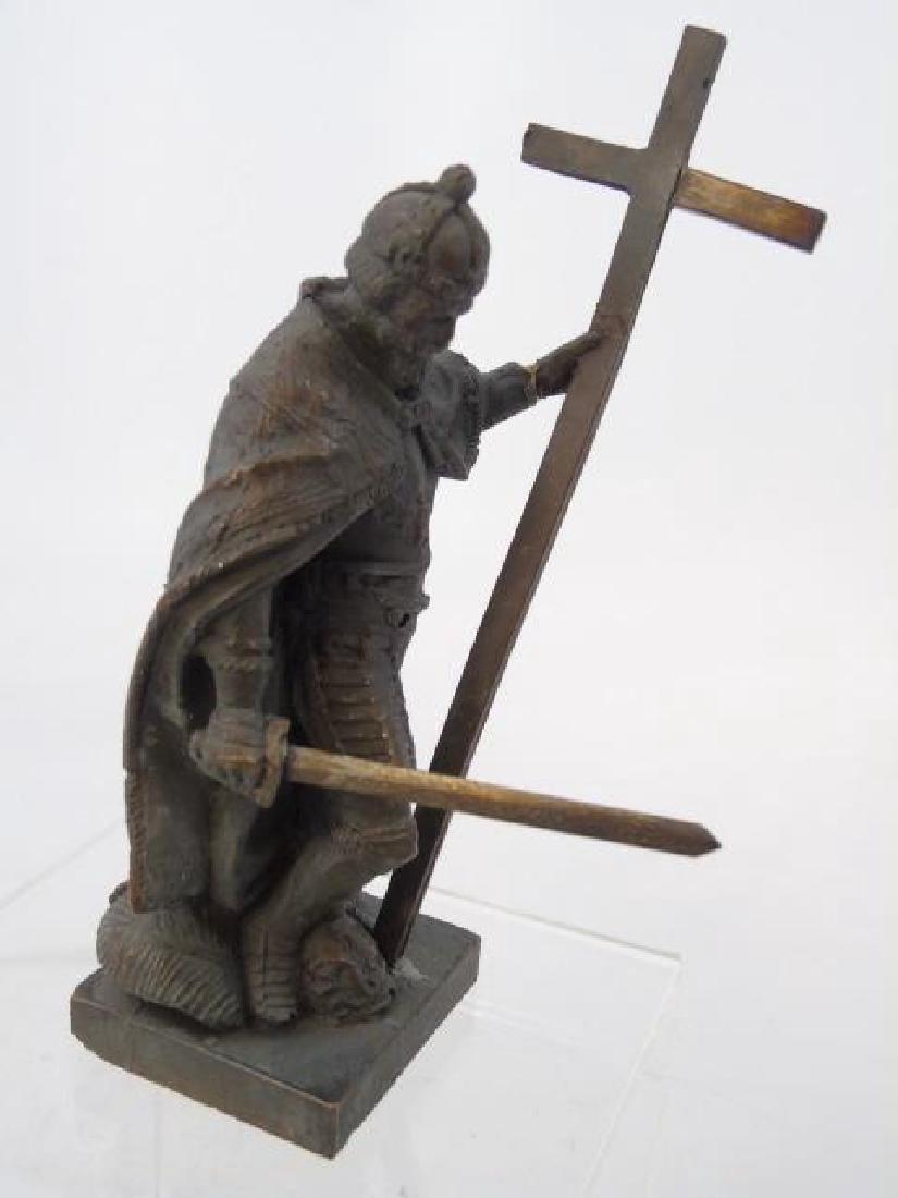 Antique 19th C Table Statue of Religious Crusader