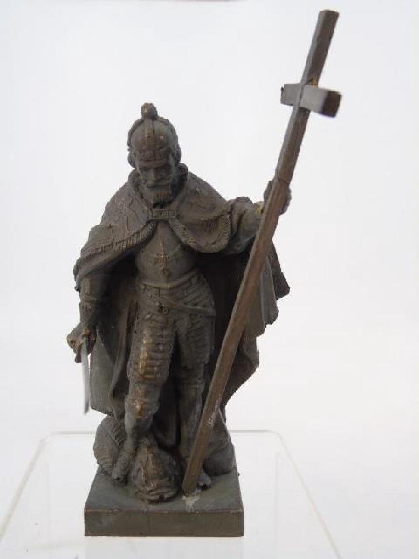 Antique 19th C Table Statue of Religious Crusader - 2