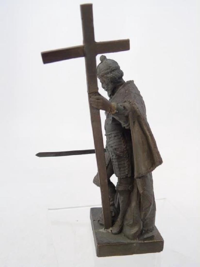 Antique 19th C Table Statue of Religious Crusader - 3